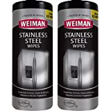 Weiman Stainless Steel Cleaner Wipes (2 Pack) Fingerprint Resistant, Removes Residue, Water Marks and Grease from…