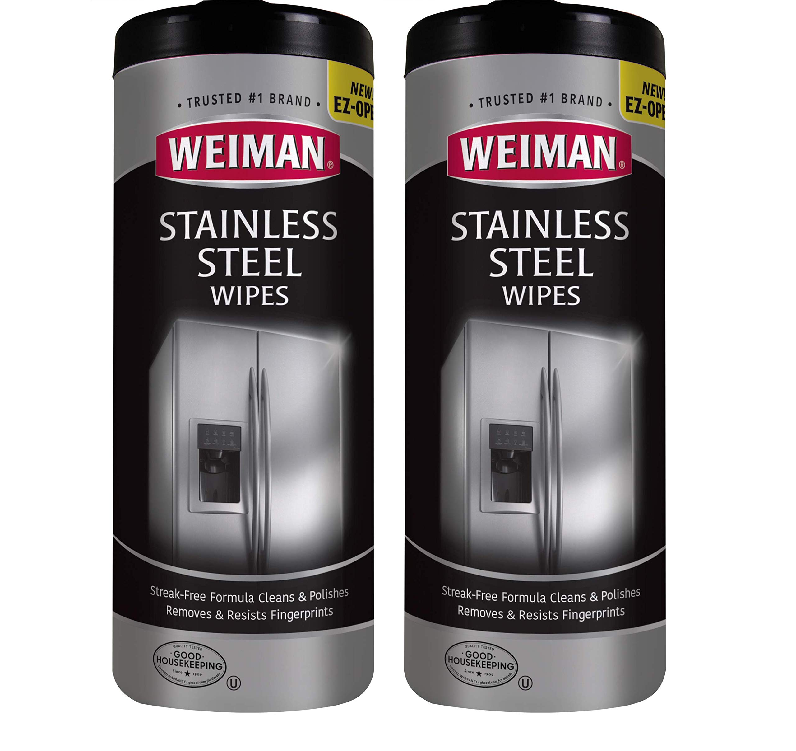 Weiman Stainless Steel Cleaner Wipes (2 Pack) Fingerprint Resistant, Removes Residue, Water Marks and Grease from Appliances - Works Great on Refrigerators, Dishwashers, Ovens, and Grills by Weiman