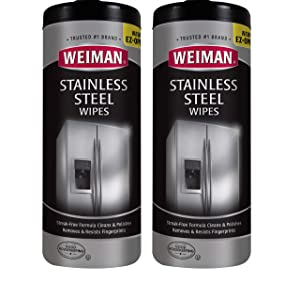 Weiman Stainless Steel Cleaner Wipes [2 Pack] Removes Fingerprints, Residue, Water Marks and Grease from Appliances - Works Great on Refrigerators, Dishwashers, Ovens, and Grills
