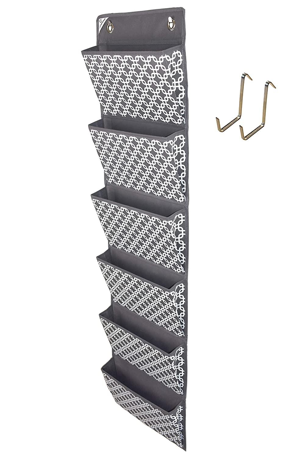 COMPONO Over The Door Hanging File Organizer Wall Mounted, Office Supplies Storage Holder Pocket Chart for Magazine, Notebooks, Planners, File Folders, 6 Large Pockets (Trellis Pattern)
