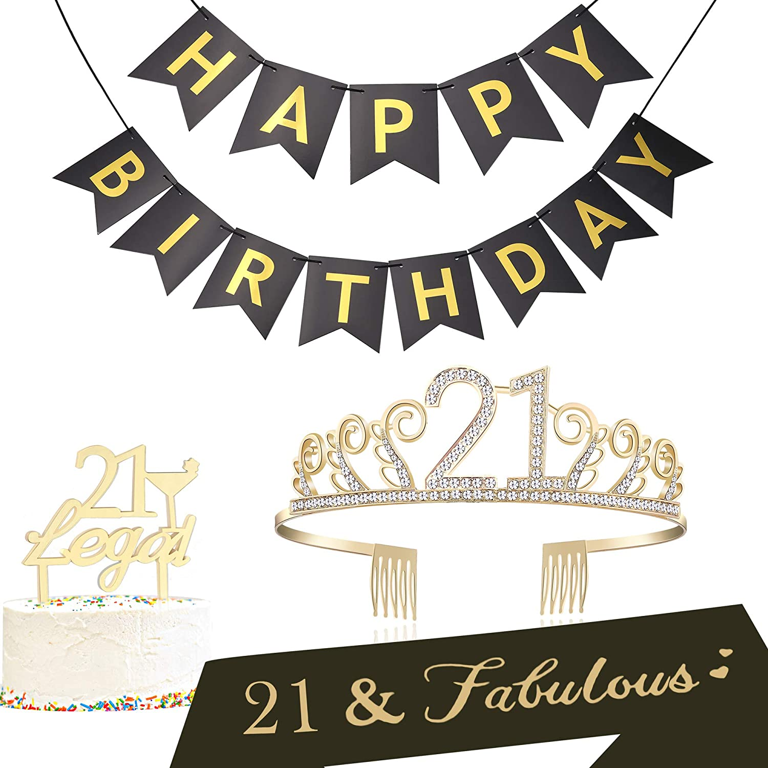 BABEYOND 21st Birthday Tiara and Sash 21st Cake Topper Happy Birthday  Banner Satin 21 & Fabulous