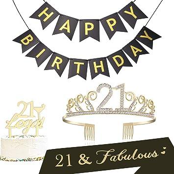 BABEYOND 21st Birthday Tiara And Sash Cake Topper Happy Banner Satin 21 Fabulous