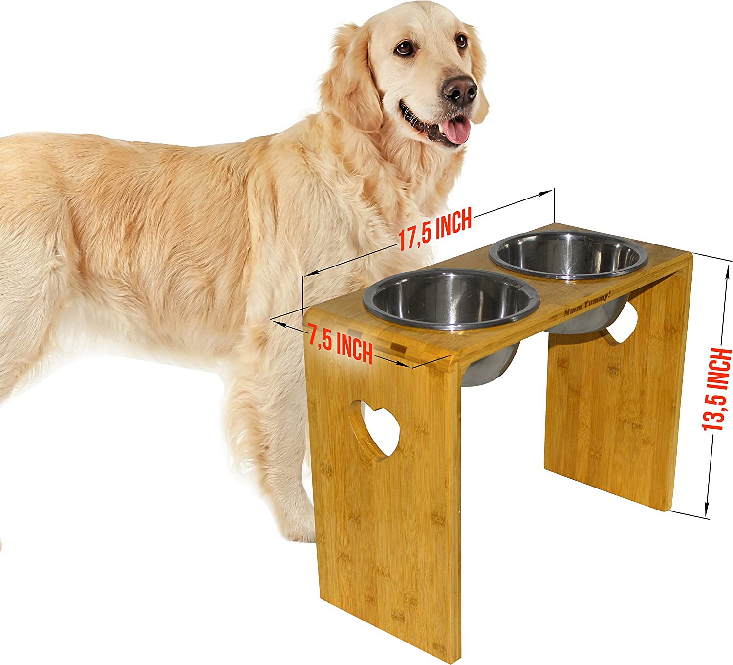 MMM YUMMY Raised dog bowls - Elevated Pet Feeder for Medium and Big Dogs - Made of Eco-Friendly Bamboo with 2 Removable Stainless Steel Food Bowls