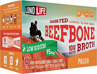 product image for LonoLife Low-Sodium Grass-Fed Beef Bone Broth Powder with 10g Protein, Paleo and Keto Friendly, Single Serve Cups, 10 Count