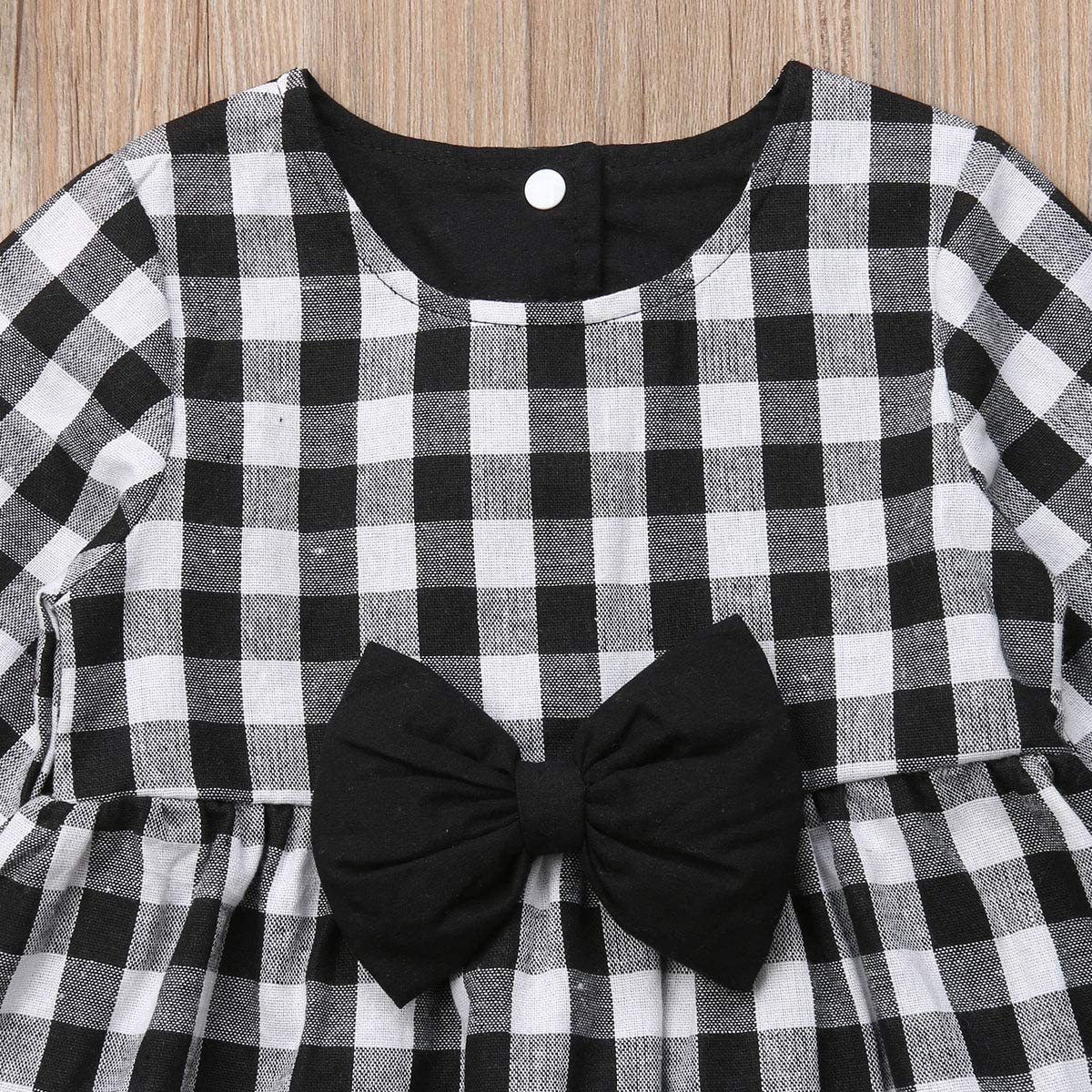 Kids Toddler Baby Girls Bowknot Dress Coat White and Black Buffalo Plaid Winter Outfits Clothes