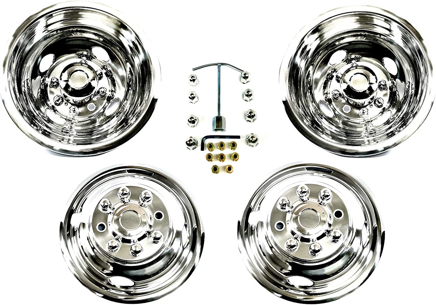 Kaper II SS-1604-EZN8 Polished Stainless Steel Ford Truck Wheel Simulator Set 16 x 6 6.5 Bolt Circle 8 Lug 8 Hand Hole, Easy On Push on Mounting