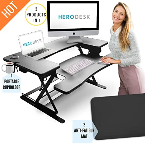 Marvelous Herodesk New Height Adjustable Standing Desk With Anti Fatigue Mat Cup Holder Wide Surface Stand Up Workstation Sit Stand Converter Riser Download Free Architecture Designs Crovemadebymaigaardcom
