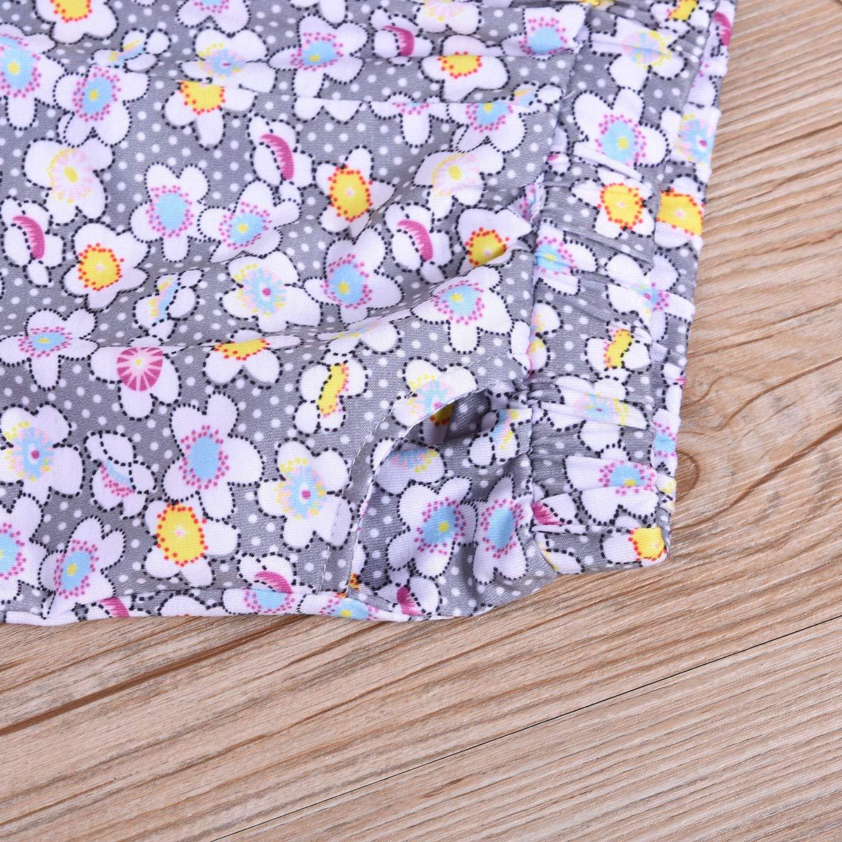 Girls Ruffled Print Top Shirt Floral Pants Shorts Children Outfit Suit 2pcs