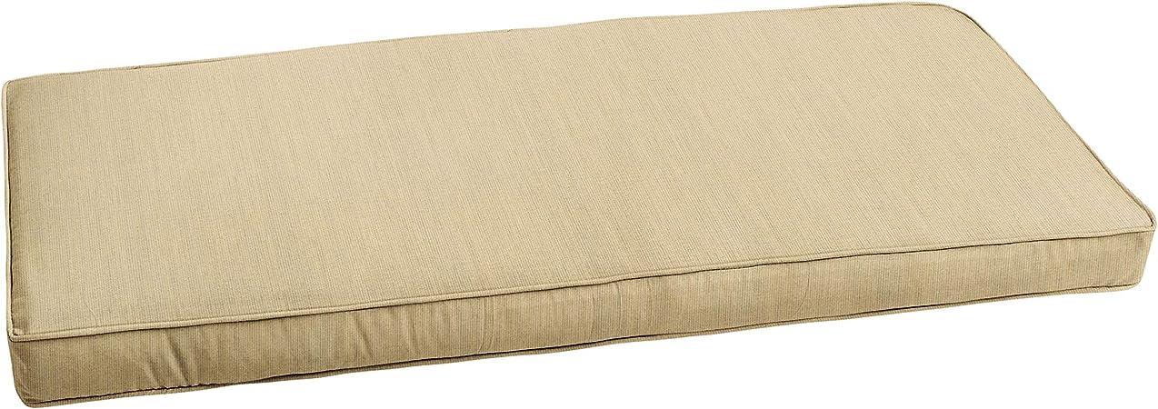 Amazon Com Mozaic Amzcs112818 Indoor Or Outdoor Sunbrella Bench Cushion With Corded Edges And Tie Backs 42 X20 Spectrum Sand Garden Outdoor