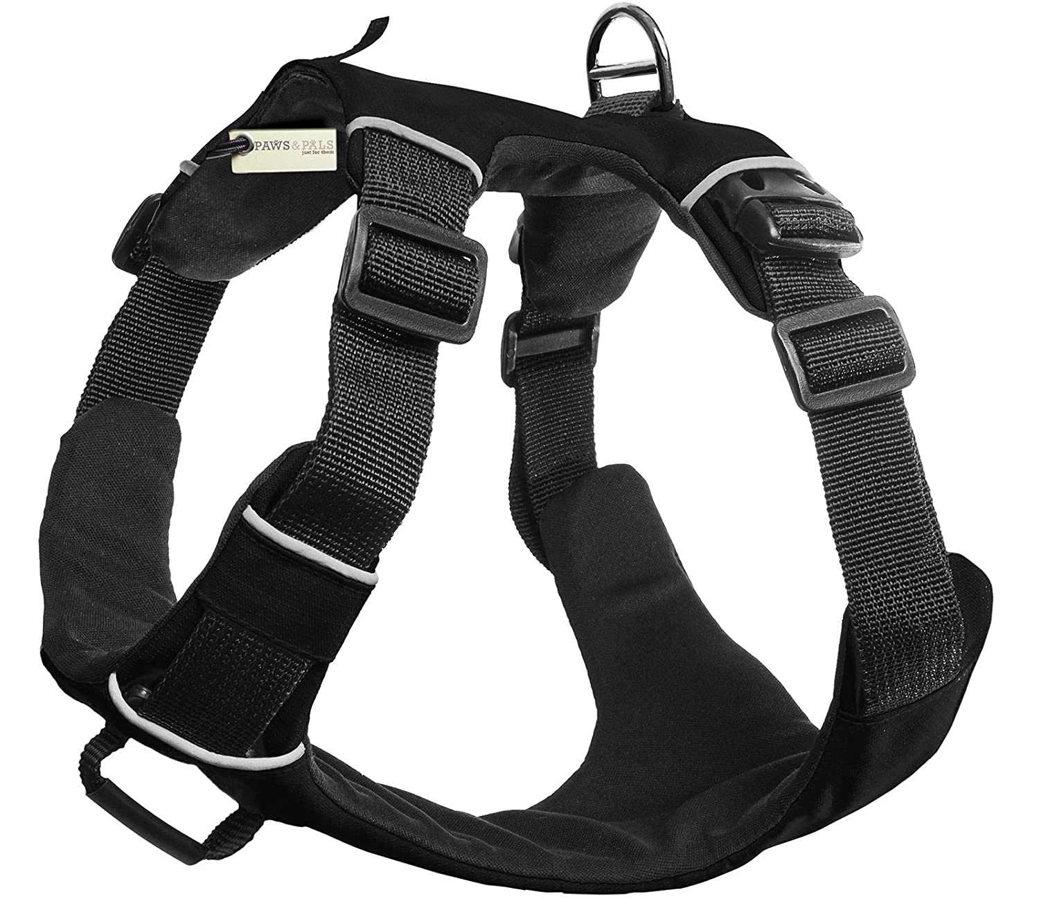 Paws & Pals Pet Harness for Dogs Cats No-Pull Durable Padded Nylon Mesh Vest Easy Secure Control (Medium, Black)