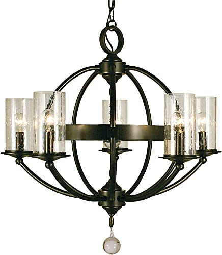 Framburg 1075 MB Compass 5-Light Chandelier with Clear Seedy Glass, Mahogany Bronze