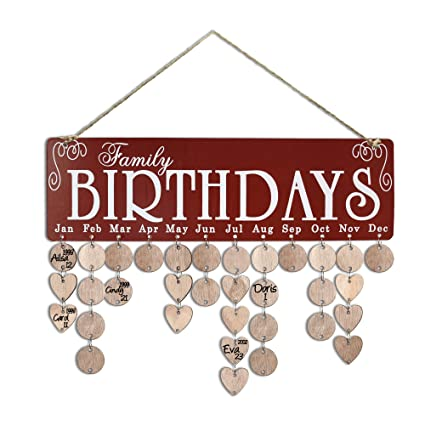 YuQi Family Birthday Reminder Calendar Plaque Wall Hanging DIY Wooden Organizer Board With Round