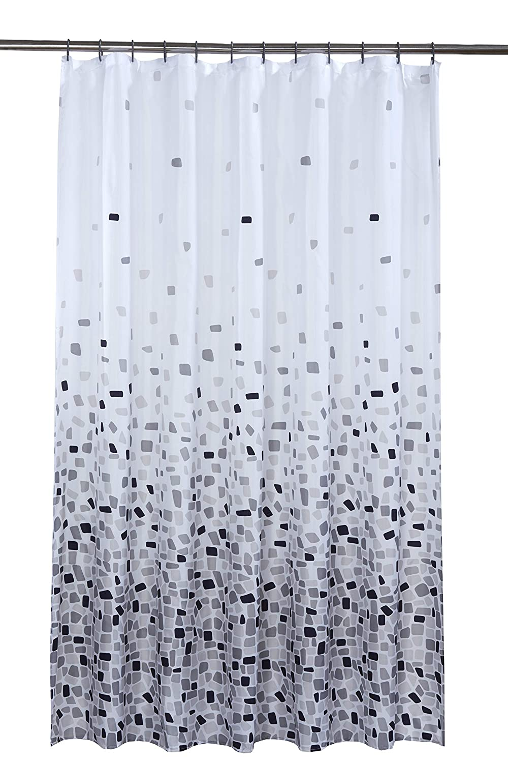 Vibrant Mosaic Grey On A White Background Polyester Shower Curtain Including 12 Rings By Waterline Amazoncouk Kitchen Home