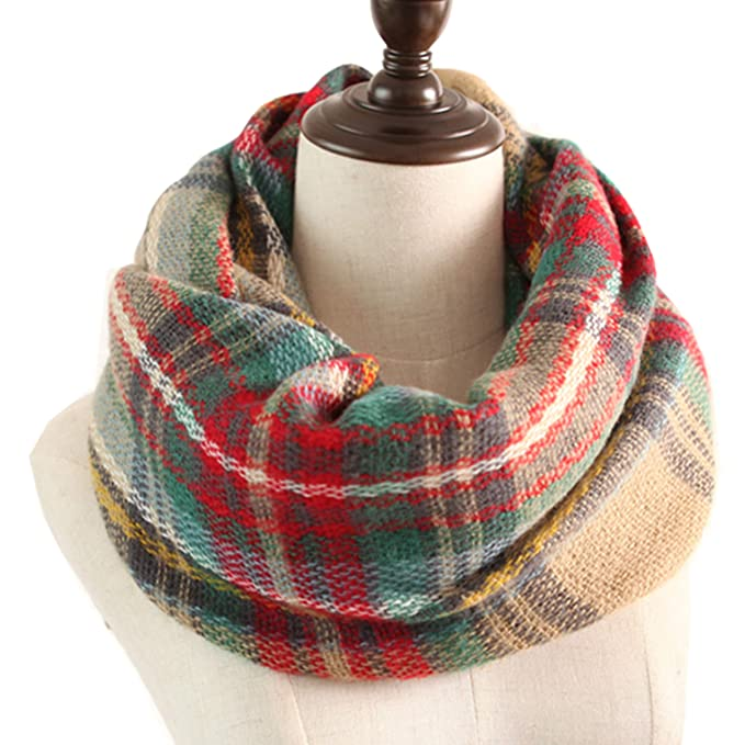 MissShorthair Plaid Tartan Infinity Scarf Soft Warm Checked Blanket Pattern