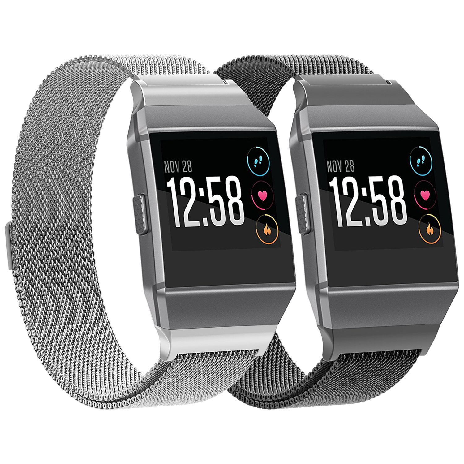 SnowCinda For Fitbit Ionic Bands Metal Small, Stainless Steel Milanese Magnetic Replacement Sprot Strap Accessories for Fitbit Ionic Smart Watch Women Men, Silver, Black