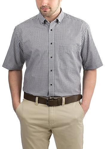 Eterna Herrenhemd Kurzarm Comfort Fit Braun kariert Business Businesshemd Elegantes Hemd Hemden Freizeit Baumwolle