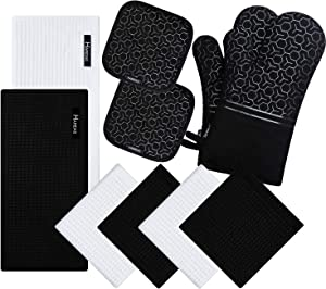 10 Piece Set Silicone Oven Mitts and Pot Holder,with Kitchen Towels and Dish Cloths ,500 Degree Heat Resistant Soft Lining Oven Mitts,Quick Drying Dish Towel,for Kitchen Baking BBQ Grilling (Black)