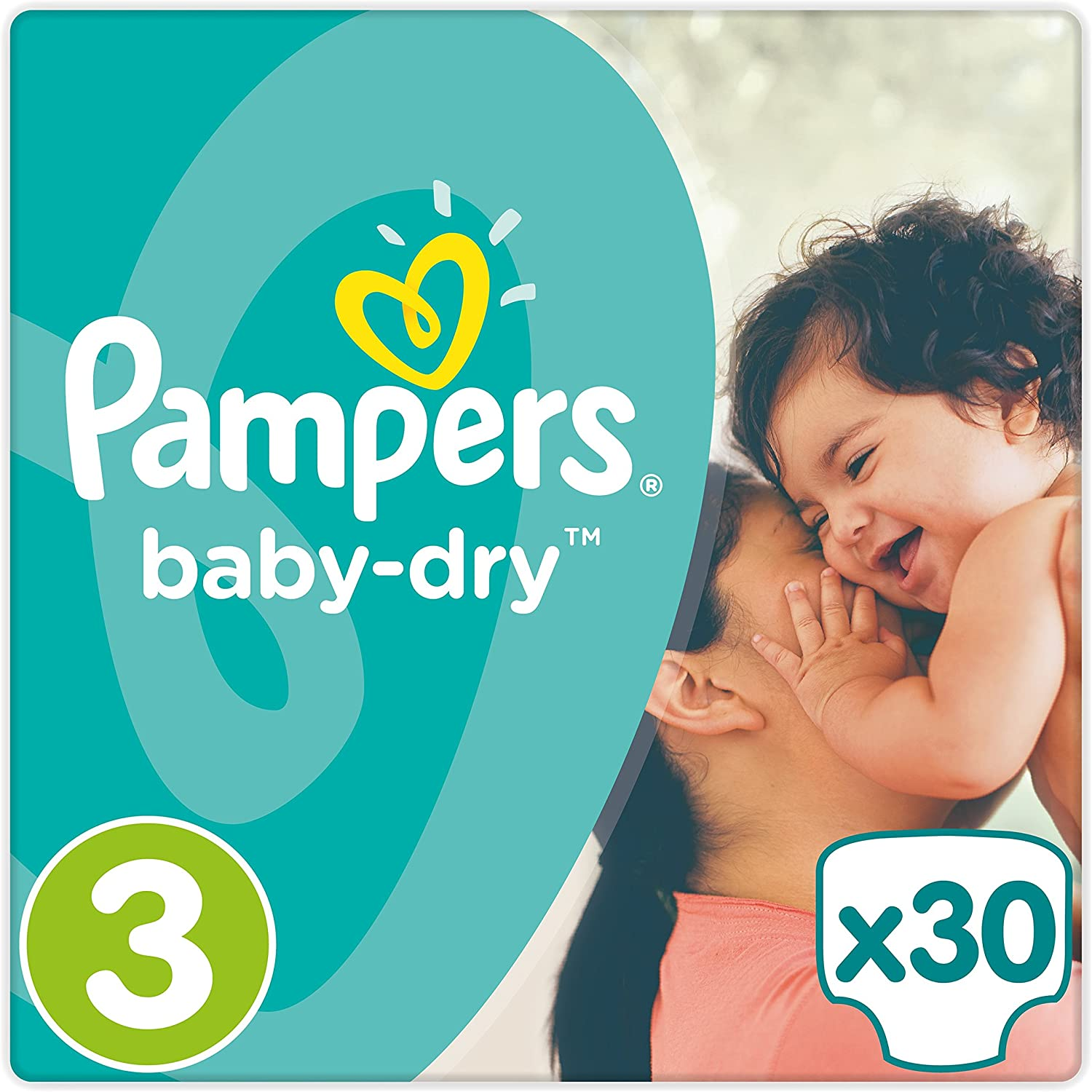 Size 3 Pampers Baby Dry Nappies Carry Pack Midi - 30 Nappies