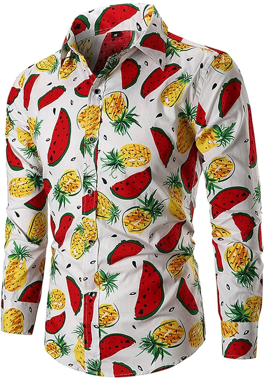 JOKHOO Mens Long Sleeve Button Down Casual Watermelon Pineapple Fruits Tropical Hawaiian Shirt