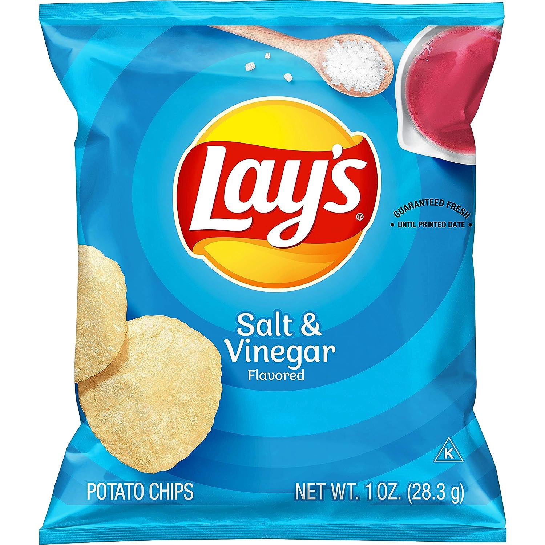 Lay's Salt & Vinegar Flavored Potato Chips, 1 Ounce (Pack of 40)
