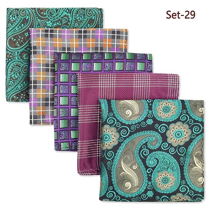 Shlax y ala 5piezas Varios colores para hombre pañuelos de bolsillo Square Set JAm97