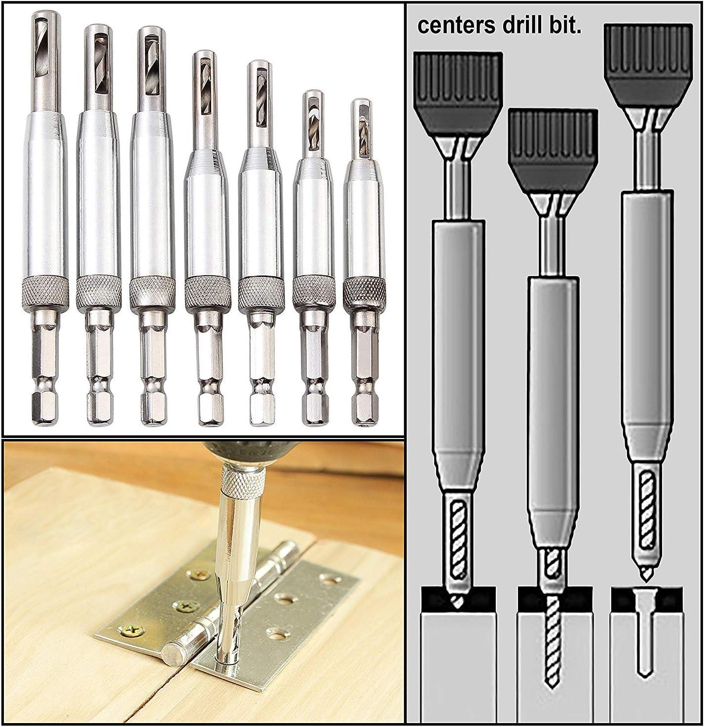 """Self Centering Drill Bit Set(15Pcs) HSS Vix Cabinet Door Hinge 7Pcs 1//4/"""" Hex Sha"""