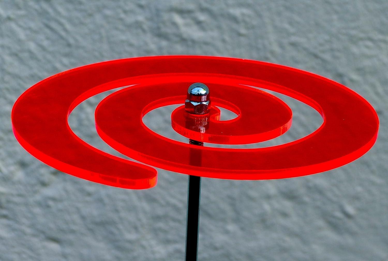 LISA DEKO Gartenstecker Wirbel rot - 17 cm mit 75 cm Metallstab - Sonnenfänger/Suncatcher