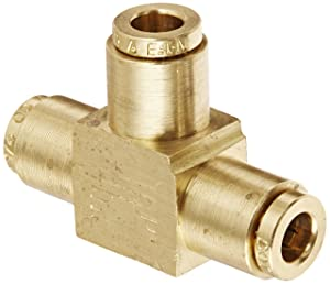 "Eaton Weatherhead 1864X4 Brass CA360 D.O.T. Air Brake Tube Fitting, Union Tee, 1/4"" Tube OD"