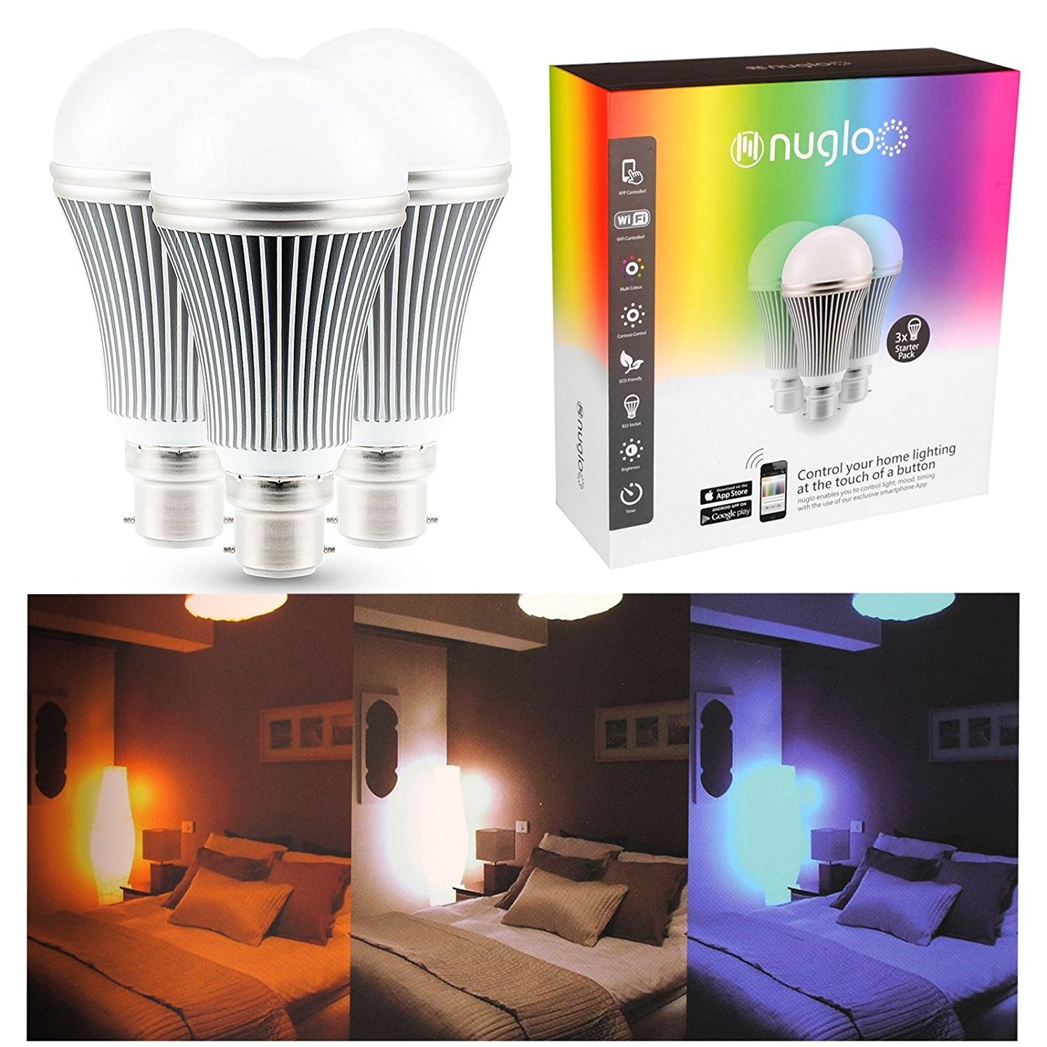 47a68c48d49b NUGLO 3 PACK COLOUR CHANGING LED APP OPERATED BULB. STARTER PACK WITH  WIRELESS ROUTER [Energy Class A]