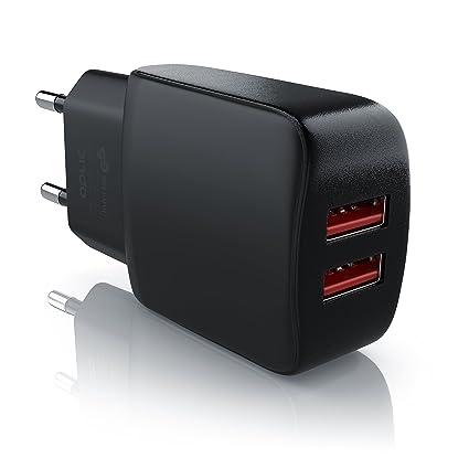 1-Pack Cargador M/óvil Cargador Blanco Cargador USB 5V//2.1A Luvfun 2 Puertos