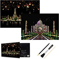 HOMEWINS Scratch Paper 405 x 285mm World Famous Landmarks Scratch Nightscapes Black Coated Colorful City DIY Art with Supporting Specialized Tool (Taj Mahal+Chiang Mai)
