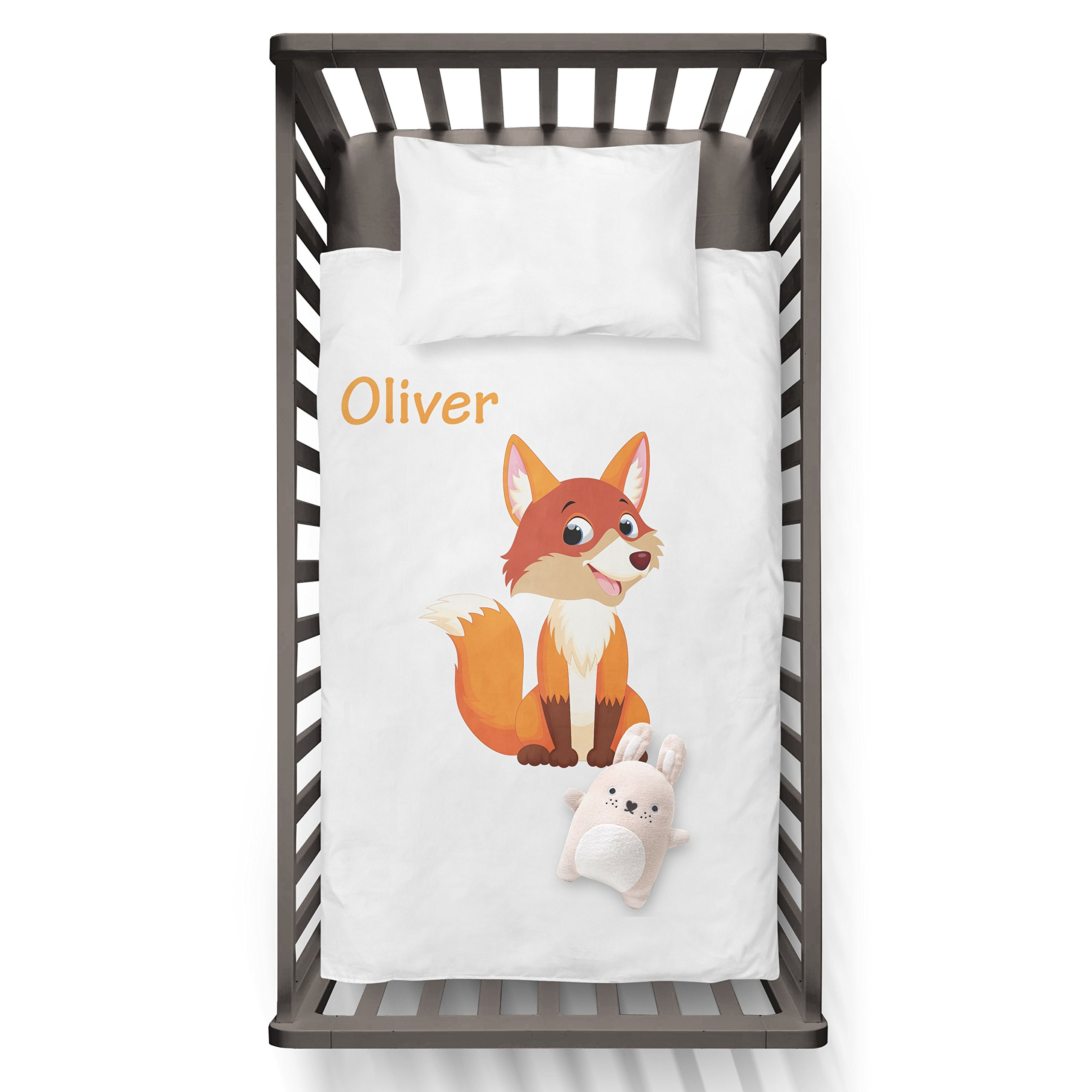 Fox With Baby Name (any name) Funny Humor Hip Baby Duvet /Pillow set,Toddler Duvet,Oeko-Tex,Personalized duvet and pillow,Oraganic,gift