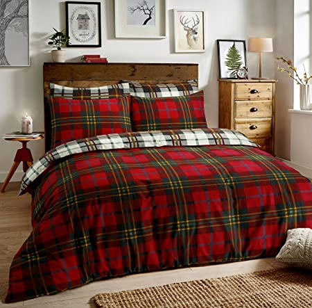 Flannel Duvet Cover Set Double With Pillowcases Quilt Bedding Set  Reversible Printed 100% Brushed Cotton