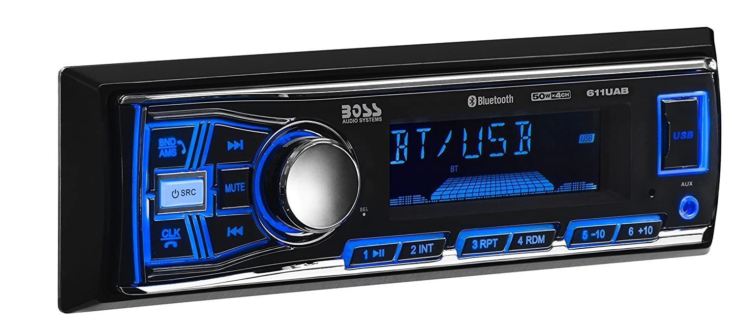Boss Audio 611uab Multimedia Car Stereo Single Din 2008 Trailblazer Wiring 24 Pin Diagrams Bluetooth And Hands Free Calling Built In Microphone Mp3 Player Usb Port Aux Input Am Fm Radio Receiver No Cd Dvd Electronics