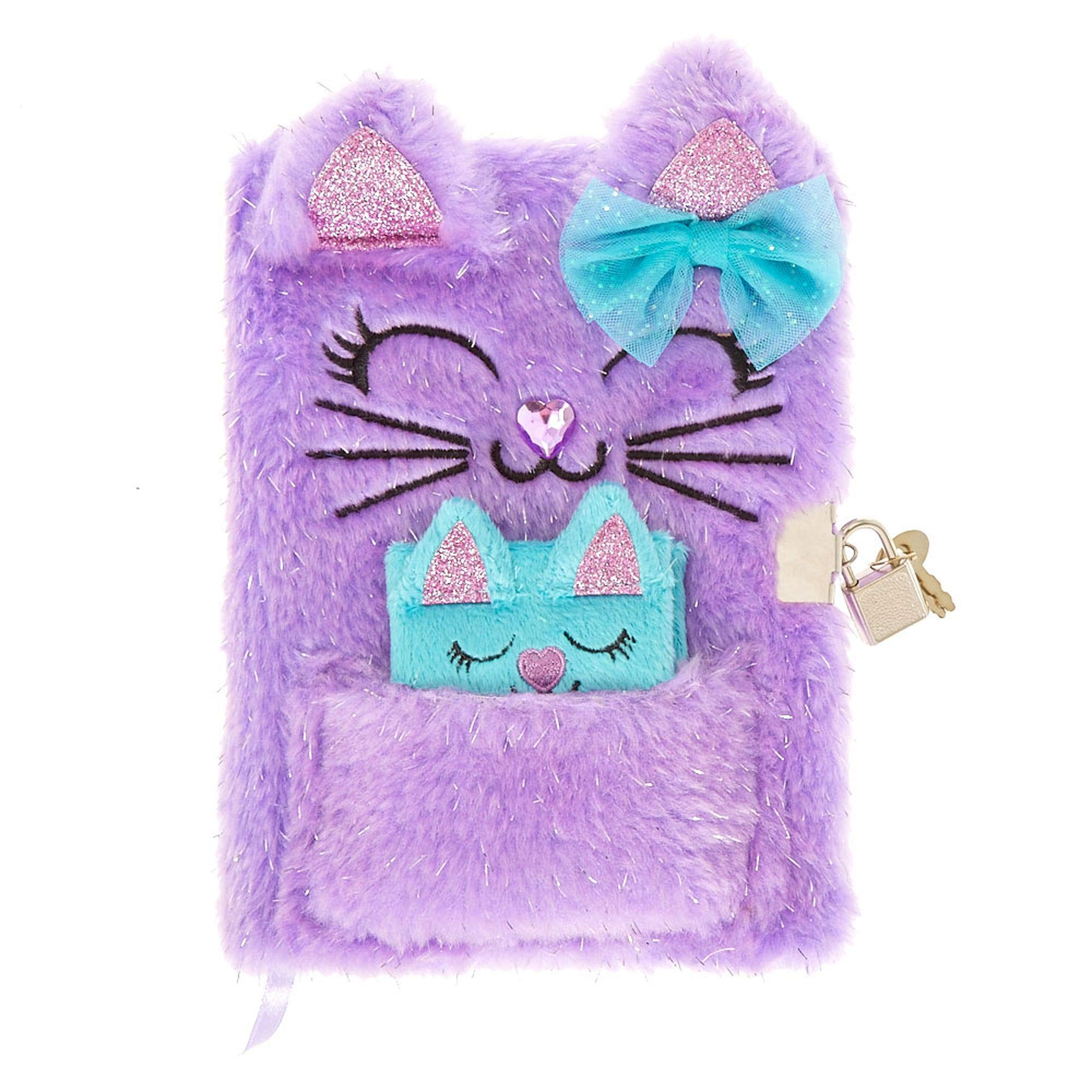 Claires Glittery Plush Purple Kitty Diary with Lock & Keys & Matching Mini Notebook by Claires