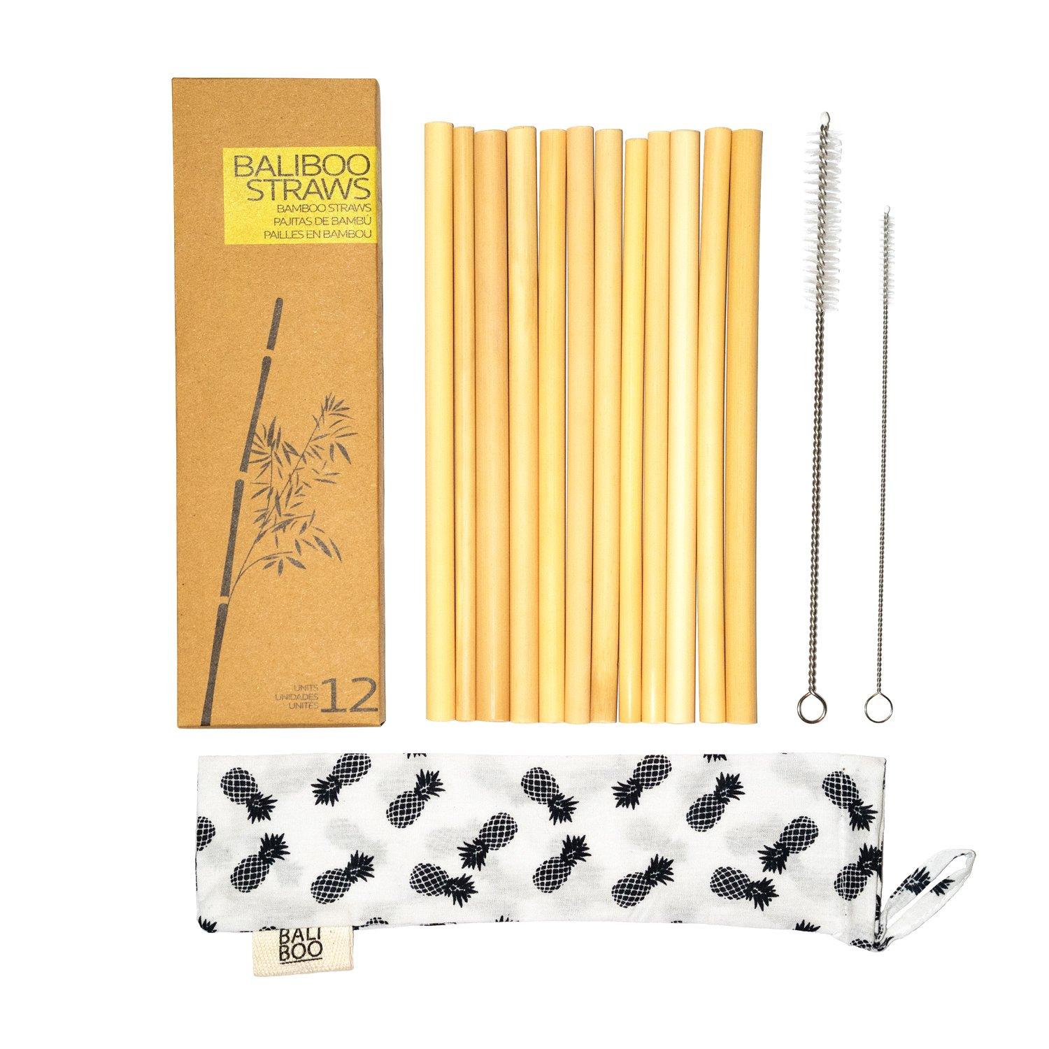12 Bamboo Straws of 8 Inches | 100% Natural, Reusable, and Washable | Includes 2 Cleaning Brushes and a Cotton Pouch | Assorted Widths | Handmade in Bali