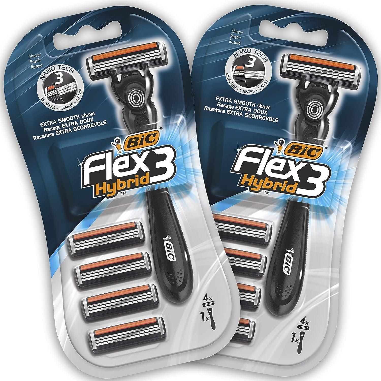 BIC Flex3 Hybrid Kit de Maquinillas para Hombre - Paquete de 2 Mangos y 8 Recambios