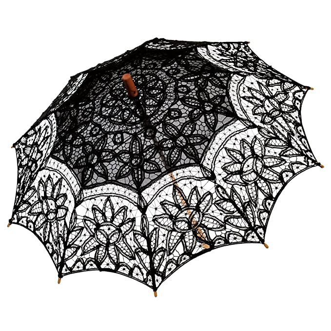 Victorian Parasols, Umbrella | Lace Parosol History  Embroidery Cotton Lace Sun Parasol Umbrella $25.99 AT vintagedancer.com