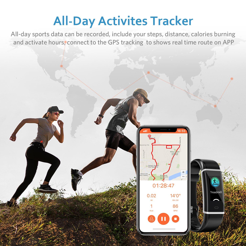 Fitness Armband, Fitness Tracker Wasserdicht IP68 mit 14 Trainingsmodi LCD-Farbbildschirm Helligkeit Einstellbar mit Pulsmesser Schrittzähler Kalorienzähler Trainingsmodi Schlafmonitor Vibrationsalarm Anruf Benachrichtigungen Kompatibel mit