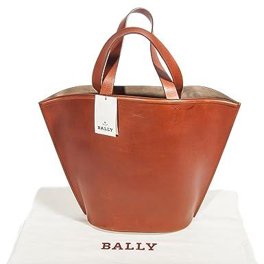 83fbb58944eb8 Amazon.com  Bally Women s Camel Brown Leather Shopper Tote Bag  Clothing