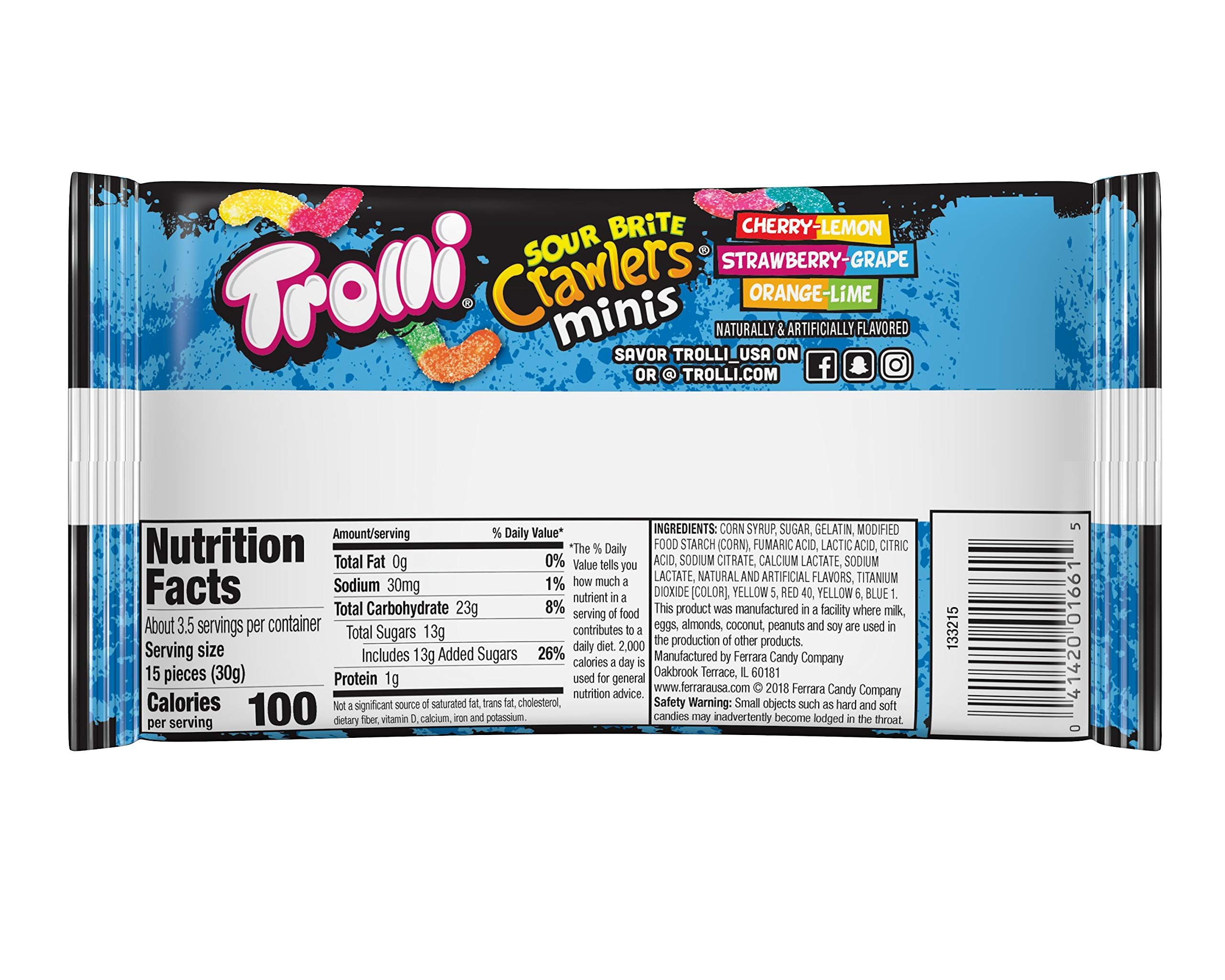 Trolli Mini Sour Brite Crawlers Gummy Worms, 3.5 Ounce Bag (Pack of 18) Sour Gummy Worms by Trolli (Image #3)