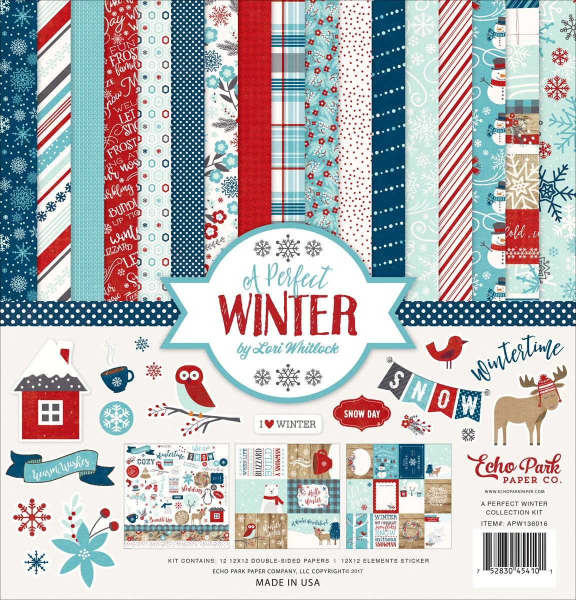 Echo Park Paper Company Collection Kit, Eine Perfekte Winter, 12-x-12-inch APW136016