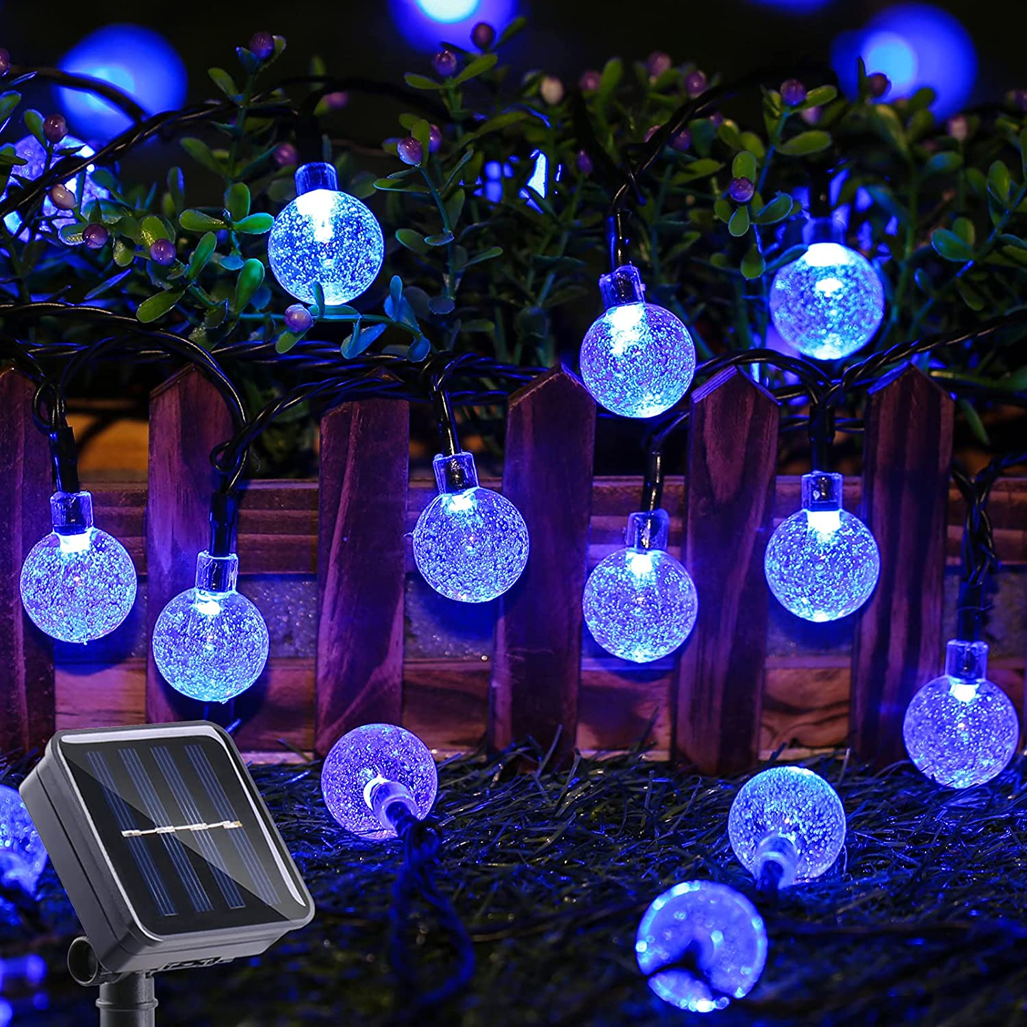 Toodour Solar String Lights 50 LED 29.5ft Solar Patio Lights with 8 Modes, Waterproof Crystal Ball String Lights for Patio, Lawn, Garden, Party, Wedding, Holiday Decor (Blue)