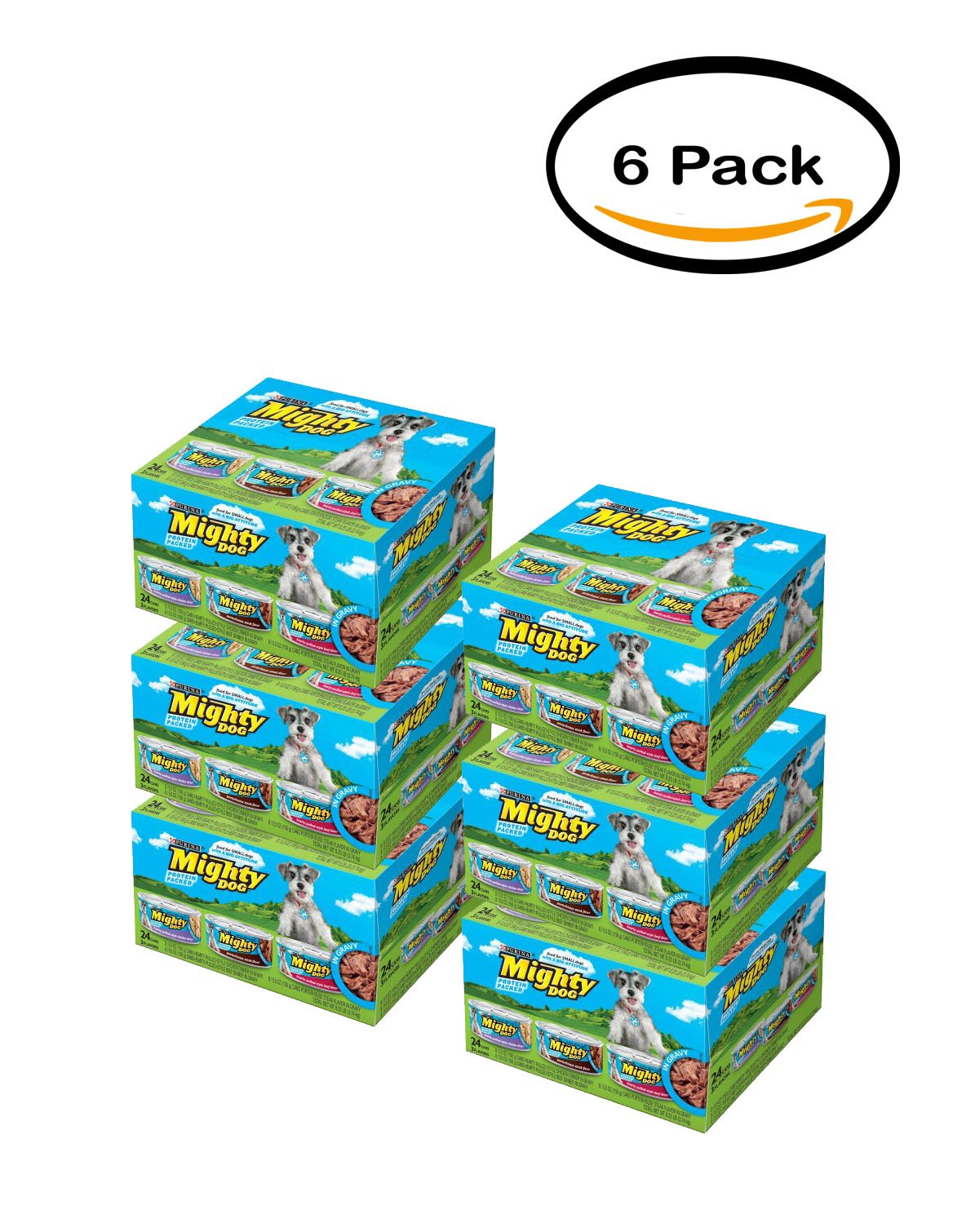 PACK OF 6 - Purina Mighty Dog Hearty Pulled-Style Chicken Dinner in Gravy/Hearty Pulled-Style Beef Dinner in Gravy/Porterhouse Steak Flavor in Gravy Dog Food Variety Pack 12-5.5 oz. Cans