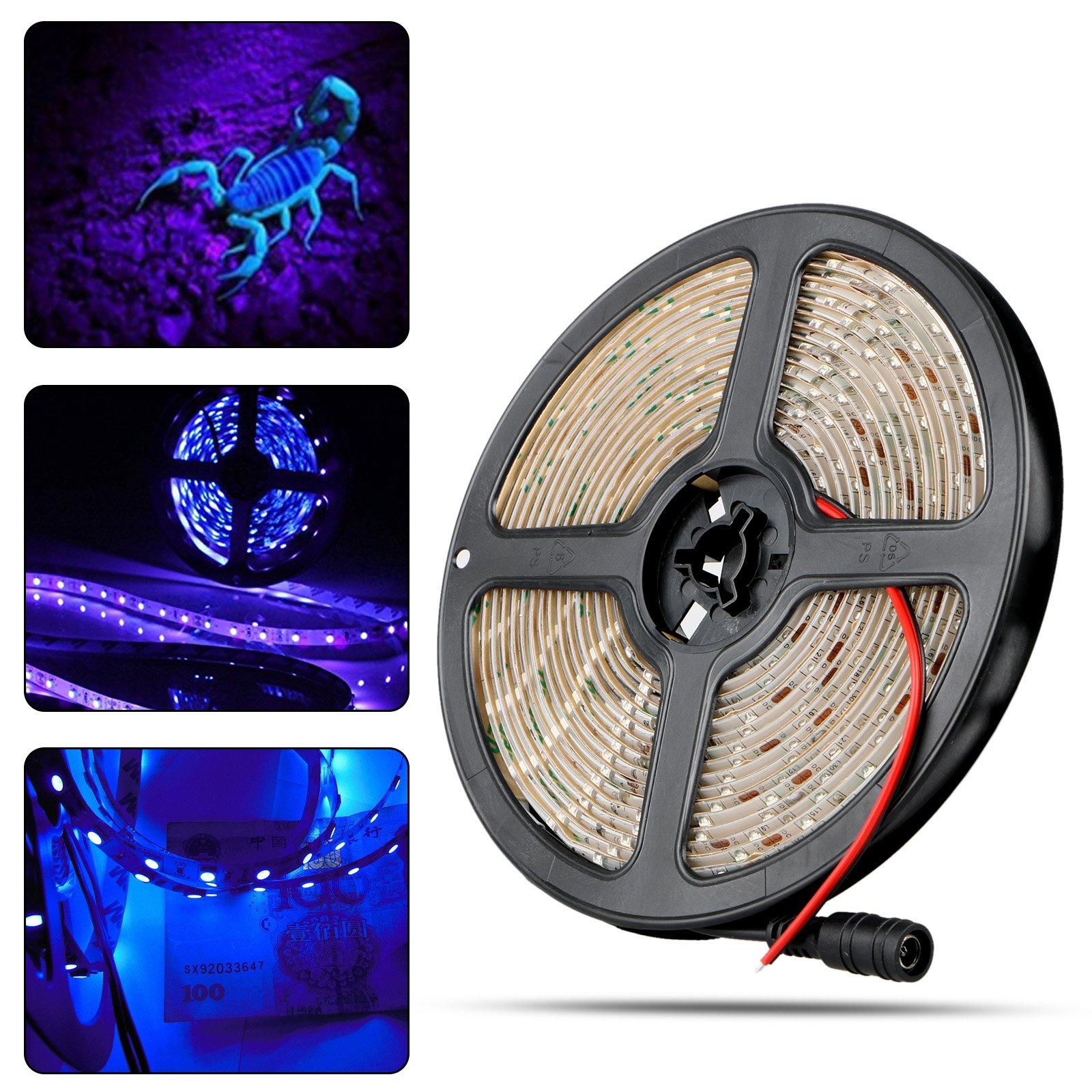 LinkStyle UV/Ultraviolet Black Lights LED Strip 300 LEDs 16.4Ft/5M 3528 Flexible Waterproof Blacklights Purple Light Night Fishing Sterilization Implicitly Party