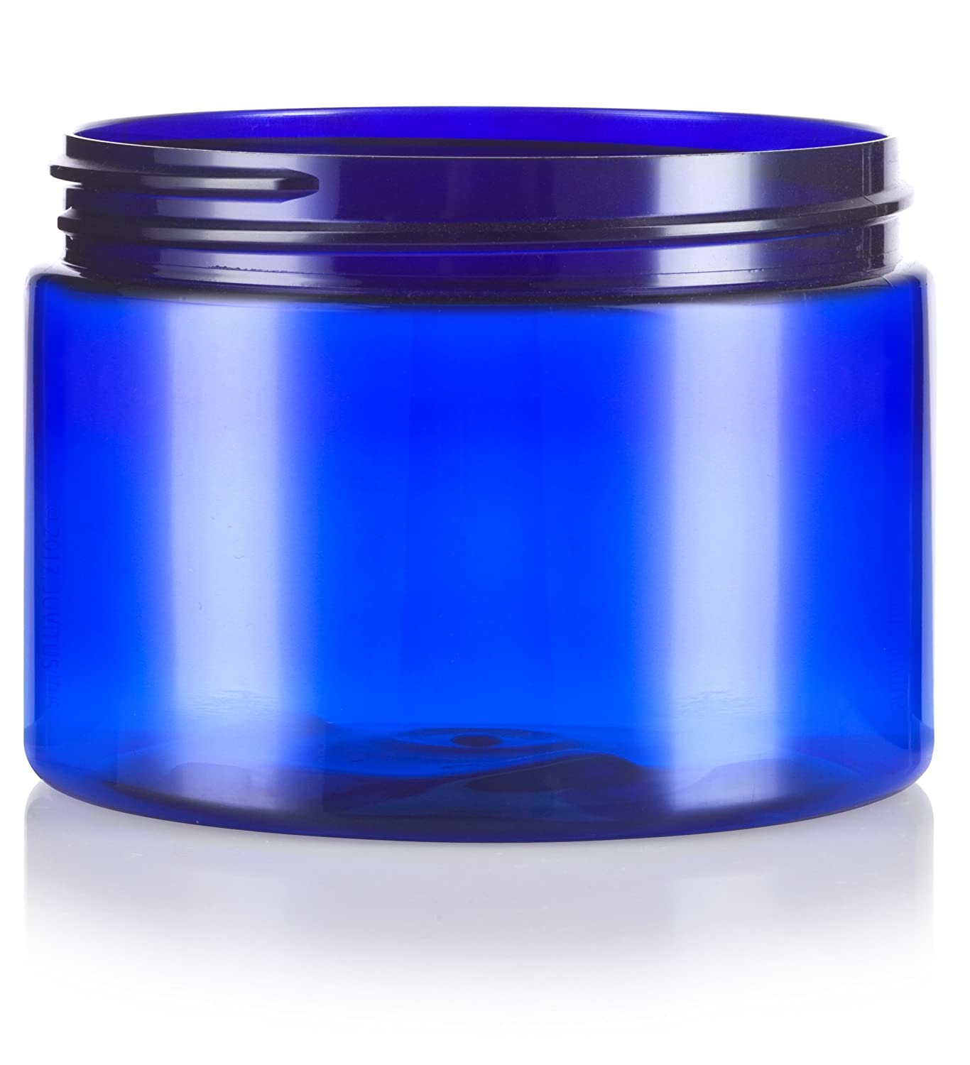 Cobalt Blue PET Plastic 12 oz 12 Pack Refillable Low Profile Jar with Gold Metal Overshell Lid + Spatulas and Labels JUVITUS JUVCBJG1212 BPA Free