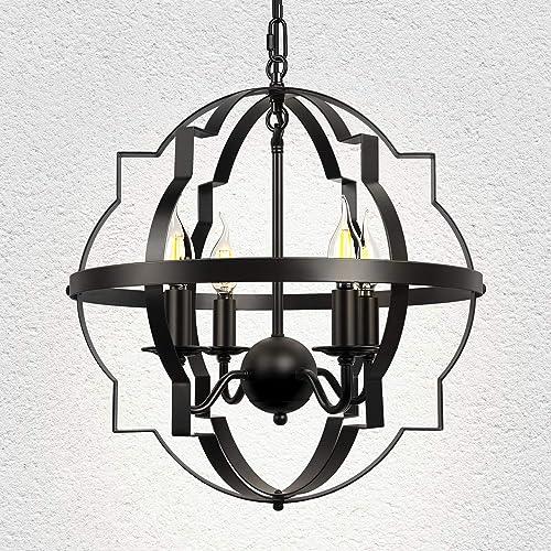 4-Light Farmhouse Vintage Chandelier Black Rustic Chandelier Metal Hanging Light Fixture
