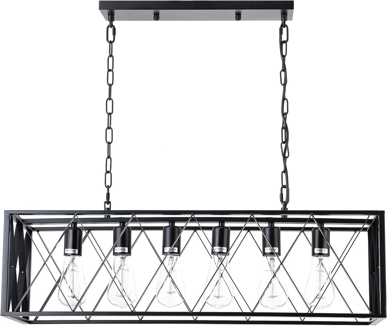 ISRAMP 6 Lights Pendant Light, Kitchen Ceiling Hanging Bar Lights, Simplicity Dining Room Light Fixture, Industrial Metal Black Matte Rectangle Island Lighting Chandelier