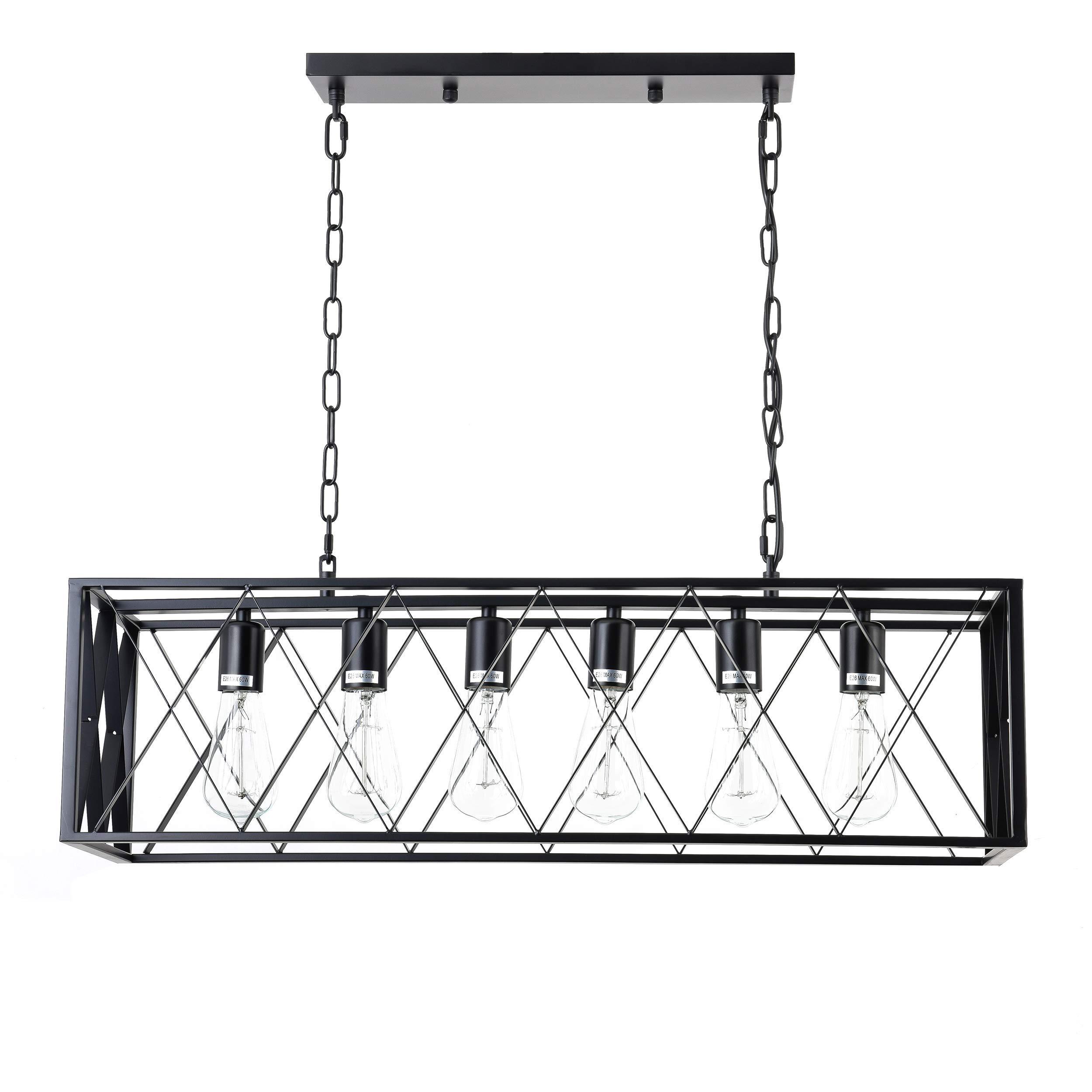 ISRAMP Kitchen Island Lighting Fixtures, 6-Light Rectangle Iron Matte Black Lamp Shade Industrial Pendant Light Rustic Farmhouse Chandelier