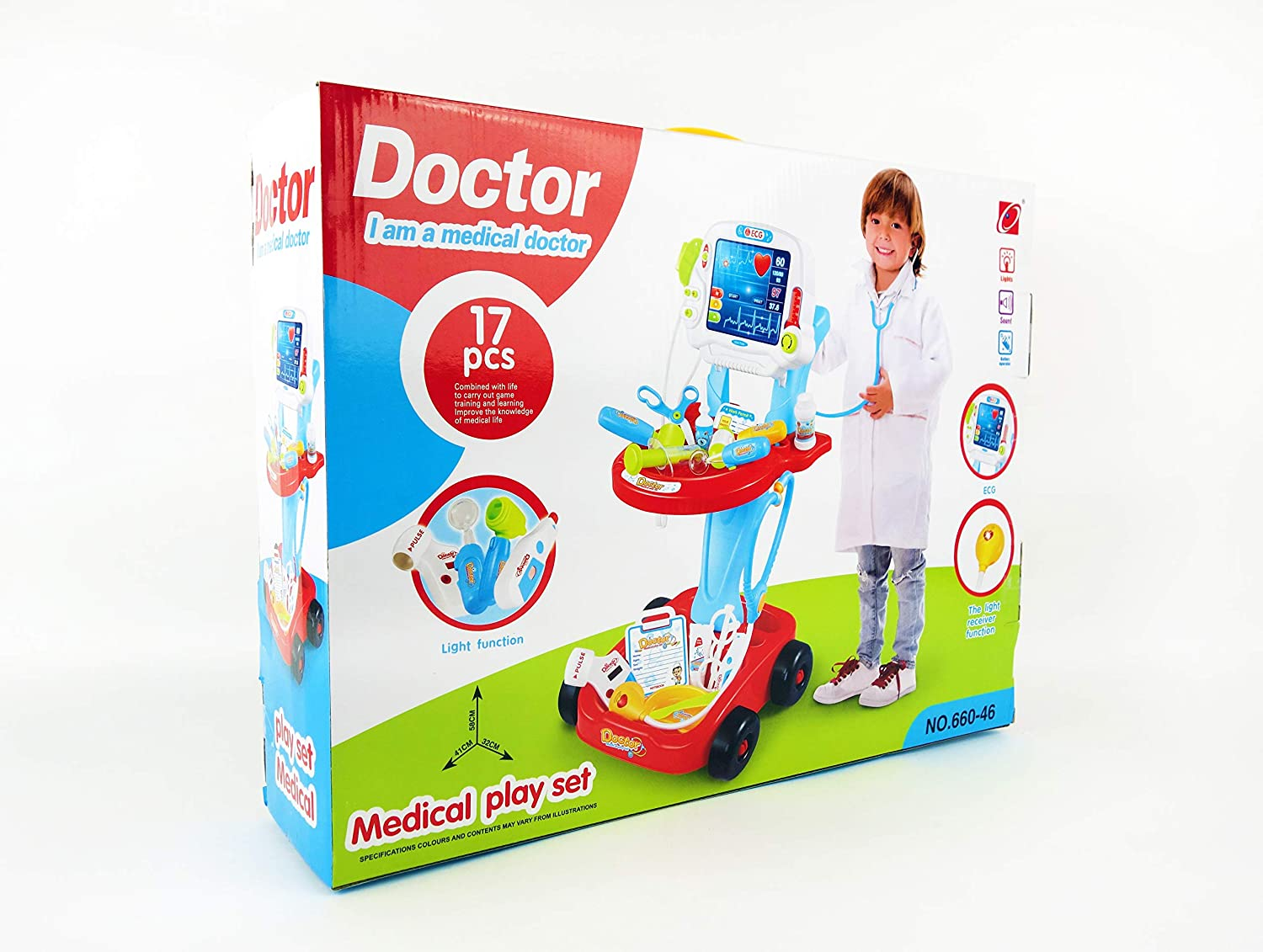 NBD Kids ToyポータブルDoctorセット、17ピースセットwith再生画面and Play Doctor Instruments   B07CHY42B9